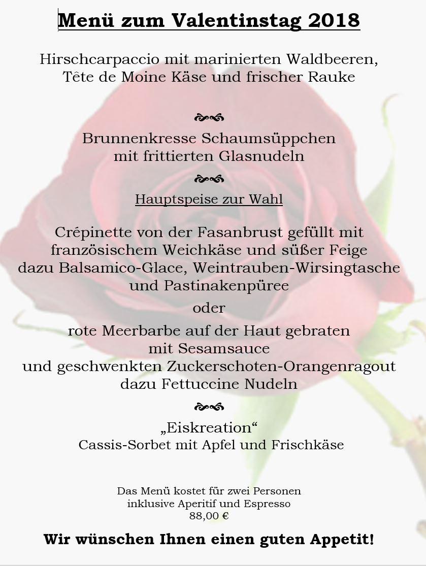 14.02.2018 Valentinstag-Menu – Forsthaus Raschwitz